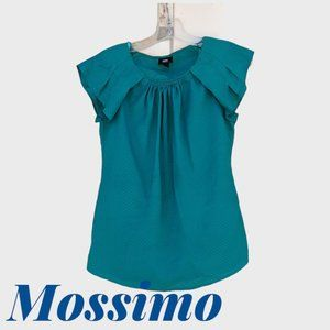Mossimo Blue-Green Blouse w/Pleated Cap Sleeves
